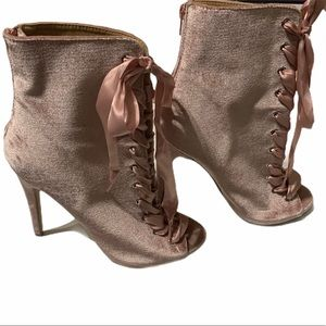 Charlotte Russe pink velvet satin lace boots 9
